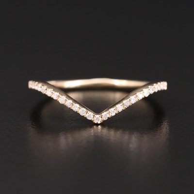 14K Yellow Gold Diamond Contour Band