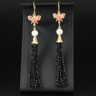Sterling Bumble Bee Tassel Earrings with Ruby, Pearl and Black Spinel
