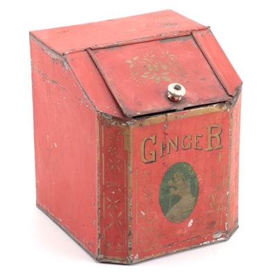 """Victorian Red Painted Tôle """"Ginger"""" Spice Bin, Late 19th Century"""