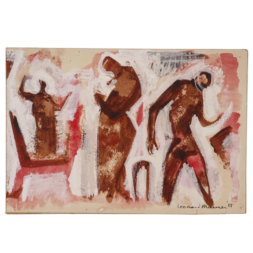 Leonard Maurer Abstract Figural Gouache Painting, 1955