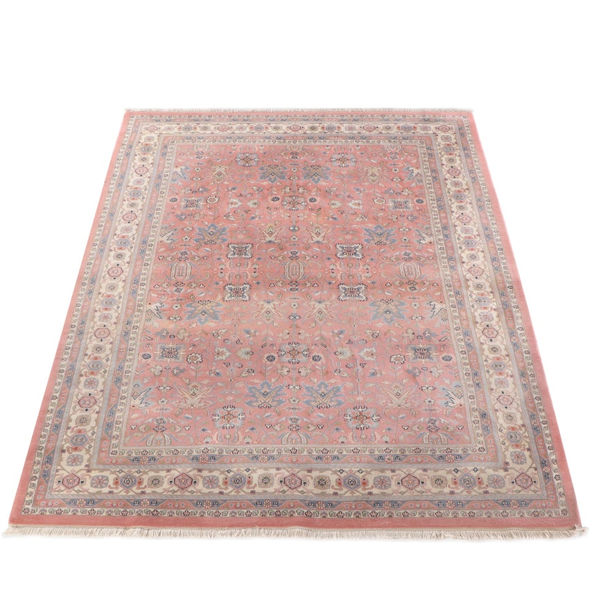 9'1 x 12'4 Hand-Knotted Indian Indo-Kashan Wool Rug