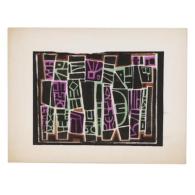 Leonard Maurer Abstract Woodblock, Mid 20th Century