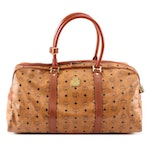 MCM Boston Duffel Travel Bag in Cognac Visetos Coated Canvas and Leather