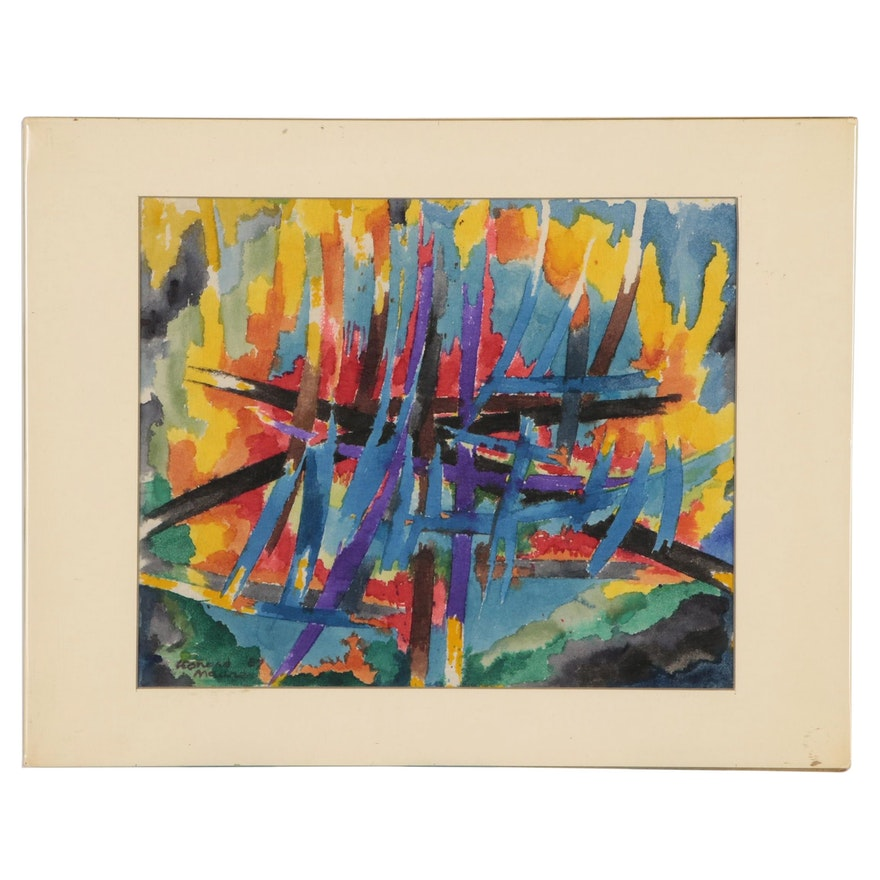 Leonard Maurer Abstract Watercolor Painting, 1967