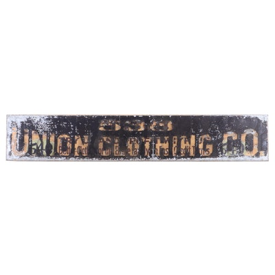 "Monumental ""538 Union Clothing Co."" Painted Metal Trade Sign, 20th Century"