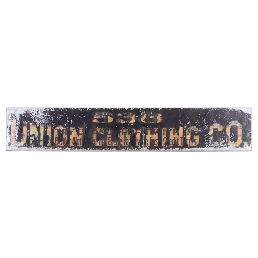"""Monumental """"538 Union Clothing Co."""" Painted Metal Trade Sign, 20th Century"""