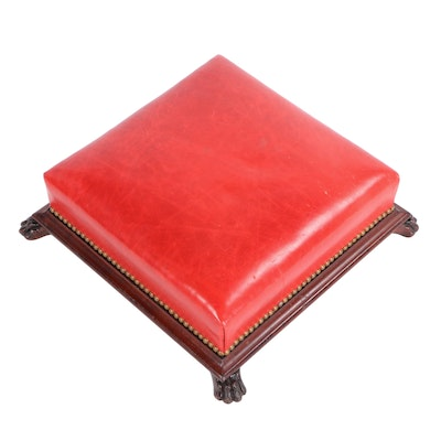 Claw Footed Leather and Brass Nailhead Footstool