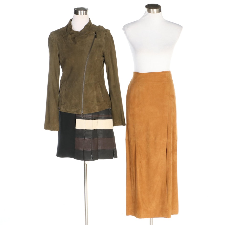 3.1 Phillip Lim and Vince Leather Jacket and Skirts