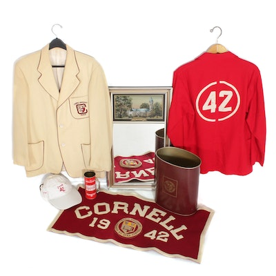Cornell University Memorabilia Jackets, Wastebasket, Pennant, Mirror and More