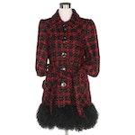 Nanette Lepore for Bergdorf Goodman Plaid Coat with Mongolian Lamb Fur Hemline