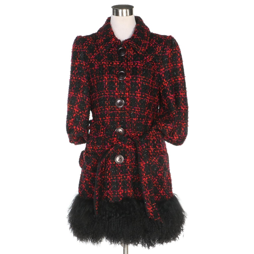 Nanette Lepore for Bergdorf Goodman Plaid Coat with Mongolian Lamb Fur Hemline