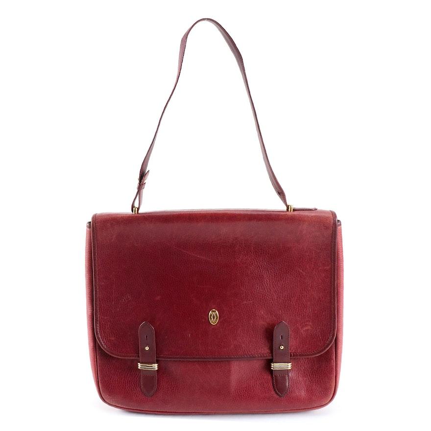 Must de Cartier Burgundy Leather Messenger Shoulder Bag