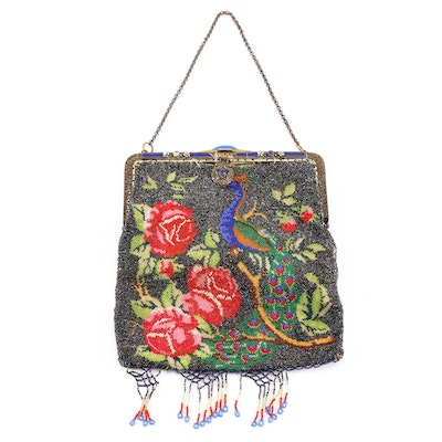 Peacock and Floral Motif Glass Hand Beaded Evening Bag, Antique