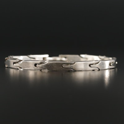 Taxco Mexico Sterling Silver Hinged Link Bracelet
