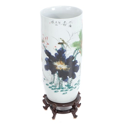 East Asian Floral Porcelain Umbrella Stand with Stand