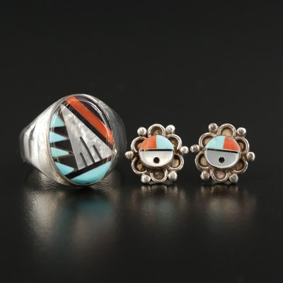 Signed Zuni Sterling Inlay Ring and Sunface Earrings Including Mother of Pearl