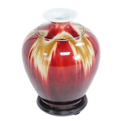 High Gloss Ceramic Vase with Wooden Stand