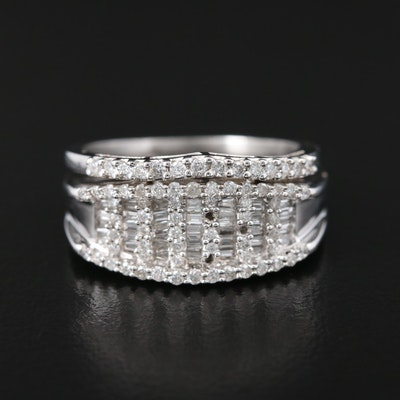 18K White Gold Diamond Wide Band and 14K White Gold Diamond Chevron Ring