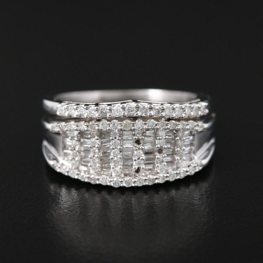 18K White Gold Diamond Wide Band and 14K White Gold Diamond Chevron Ring