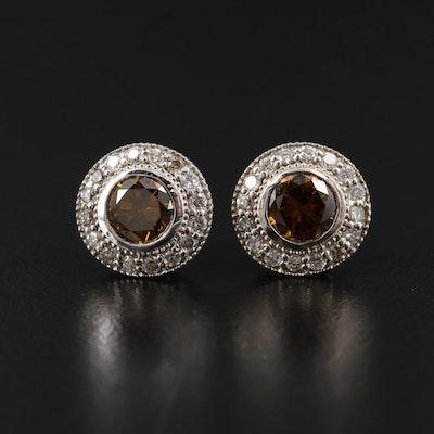 14K White Gold 1.62 CTW Diamond Earrings