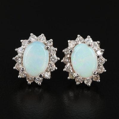14K Gold Opal Earrings with Diamond Halos