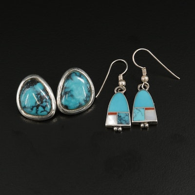 Southwestern Sterling Silver Turquoise, Mother of Pearl and Coral Earrings