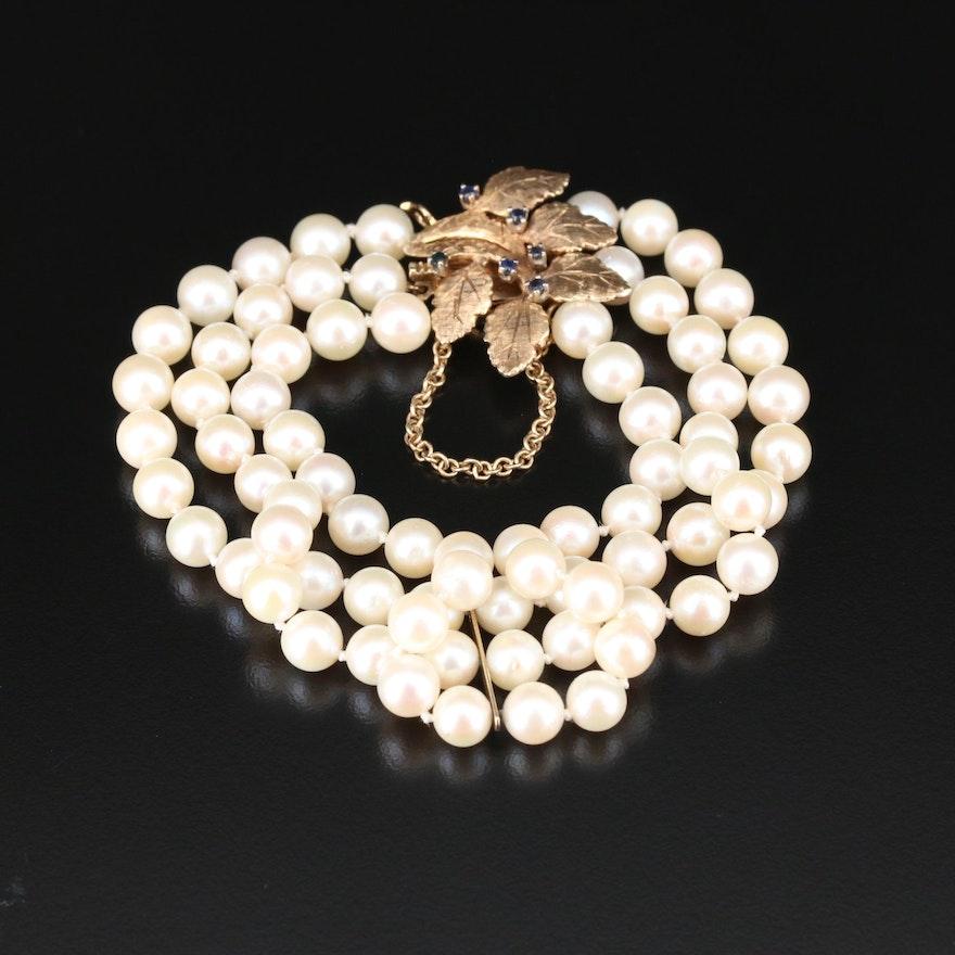 Triple Strand Pearl Bracelet with 14K Sapphire Foliate Motif Closure