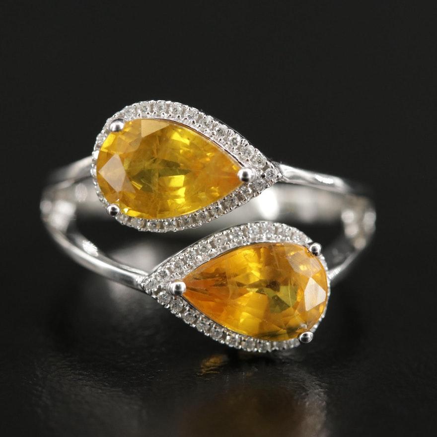 14K White Gold Yellow Sapphire and Diamond Ring