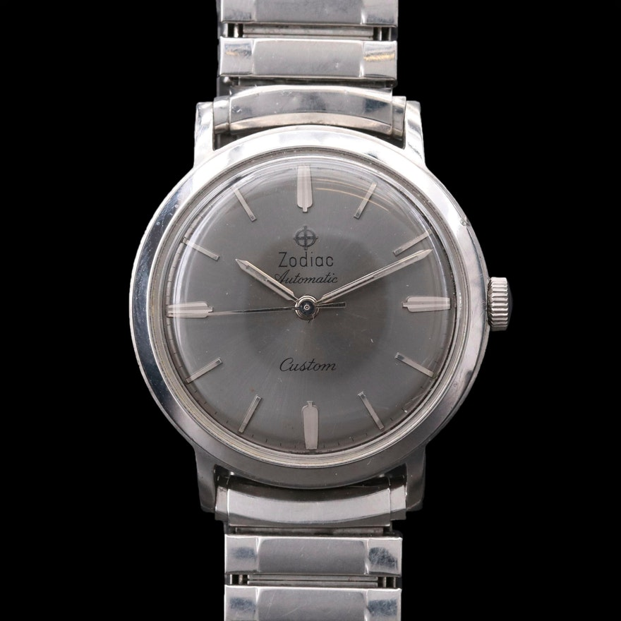 Vintage Zodiac Custom Stainless Steel Automatic Wristwatch