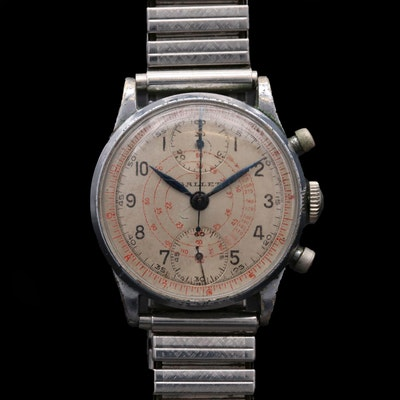 Vintage Gallet Stem Wind Chronograph Wristwatch, Circa 1940