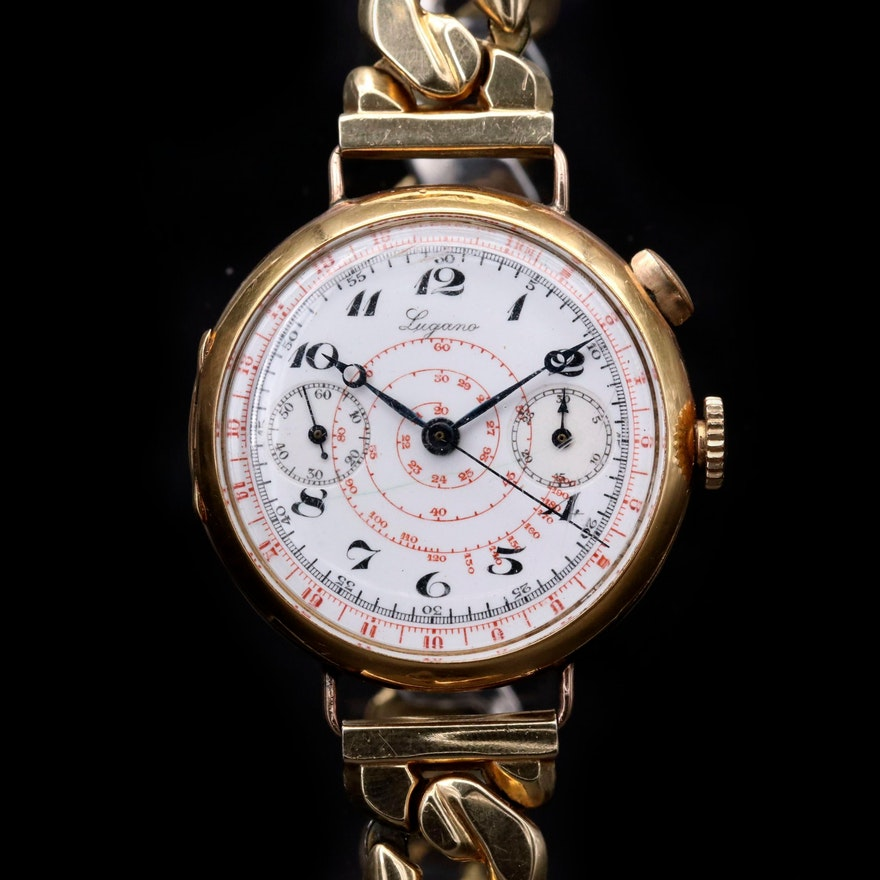Vintage Lugano 18K Gold Mono- Pusher Chronograph Wristwatch, Circa 1933