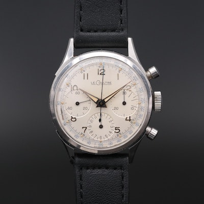 Vintage LeCoultre Stainless Steel Stem Wind Chronograph Wristwatch, 1960s