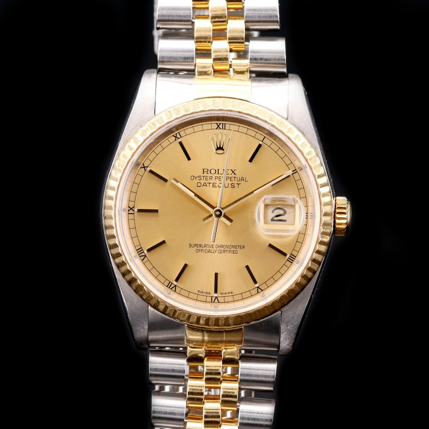 Rolex Datejust 18K Gold and Stainless Steel Automatic Wristwatch, 1989