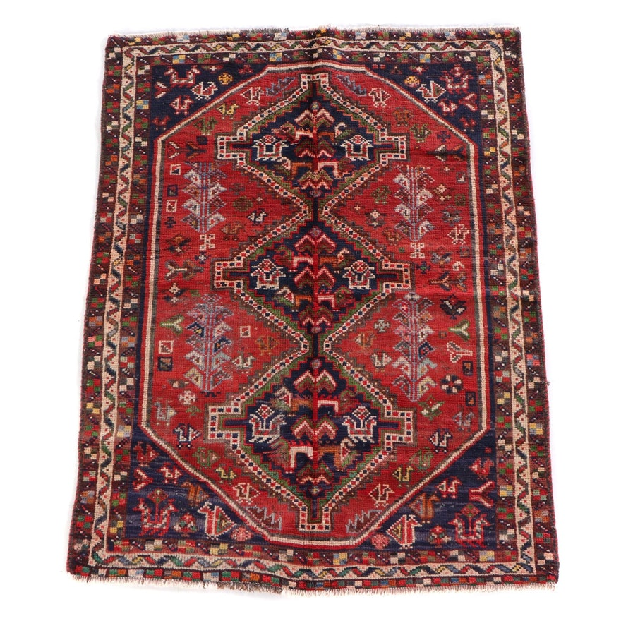 4'7 x 6'1 Hand-Knotted Persian Shiraz Wool Rug