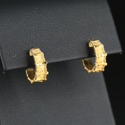 18K Gold Half Hoop Earrings with Textured Finish