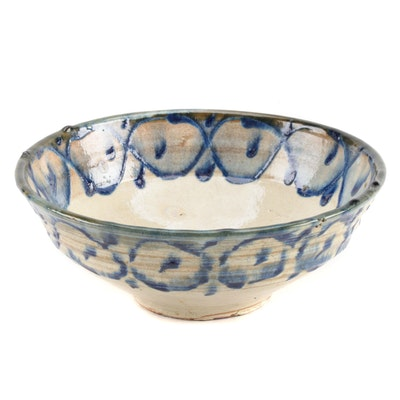 Antique Continental Earthenware Pottery Bowl, 19th Century
