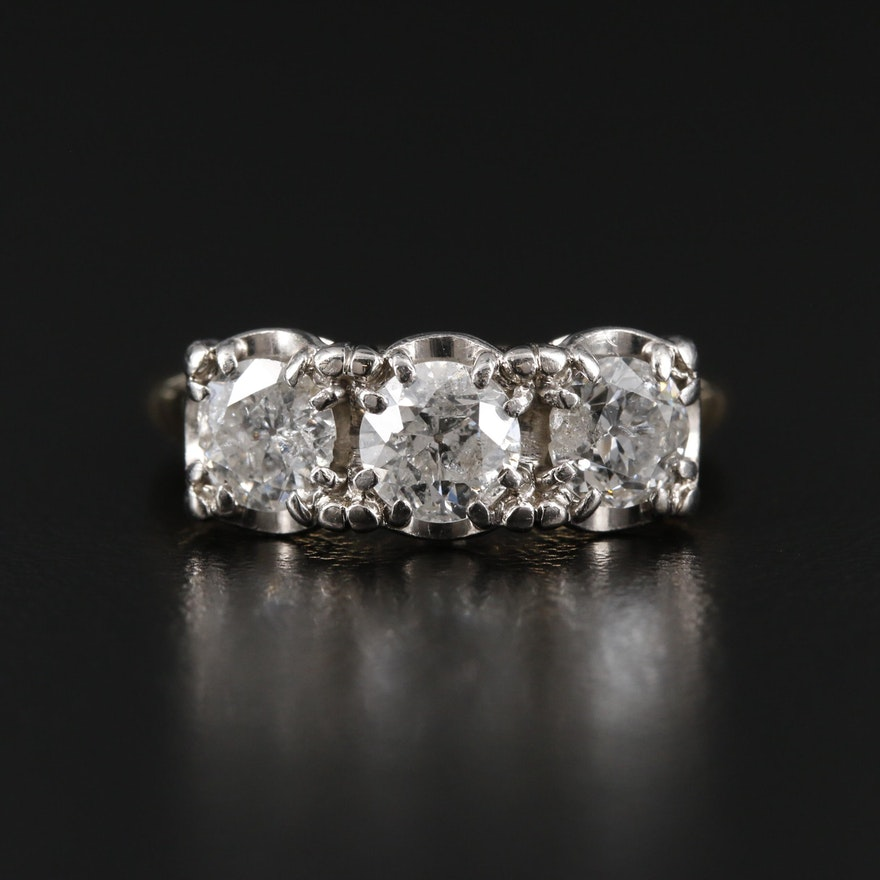 14K  Gold 1.31 CTW Diamond Three Stone Ring