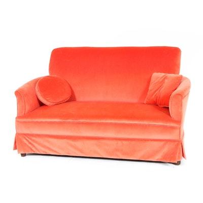 Orange Velvet Upholstered Loveseat, Mid-20th Century