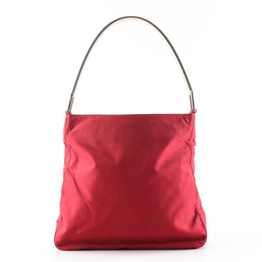 Prada Red Tessuto Nylon Handbag with Arched Metal Handle