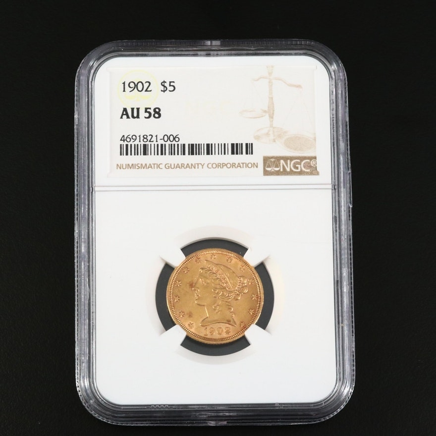 NGC Graded AU58 1902 Liberty Head $5 Gold Half Eagle