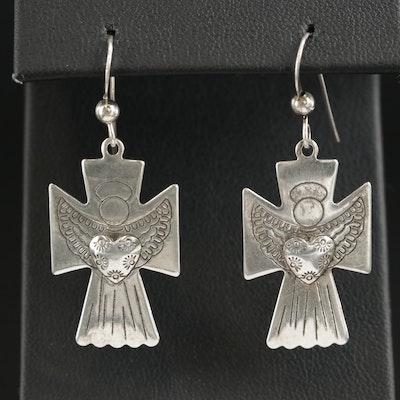 Sterling Silver Angel Cross Earrings