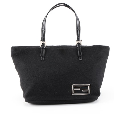 Fendi Handbag in Black Cashmere and Leather
