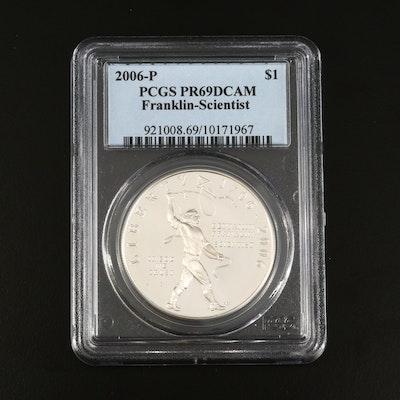 PCGS Graded PR69DCAM 2006-P Franklin Scientist Commemorative Proof Silver Dollar