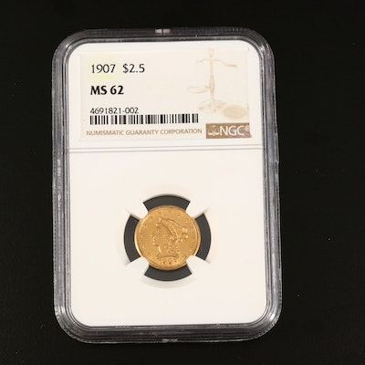 NGC Graded MS62 1907 Liberty Head $2.50 Gold Quarter Eagle Coin
