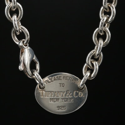 "Tiffany & Co. ""Return to Tiffany"" Sterling Silver Oval Tag Necklace"