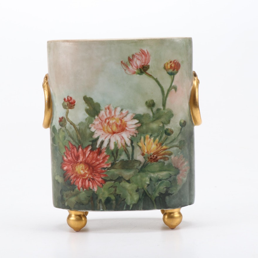 William Guerin & Co Hand-Painted Limoges Porcelain Vase