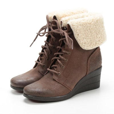 UGG Australia Uptown Zea Leather Lace-Up Shearling Waterproof Boots
