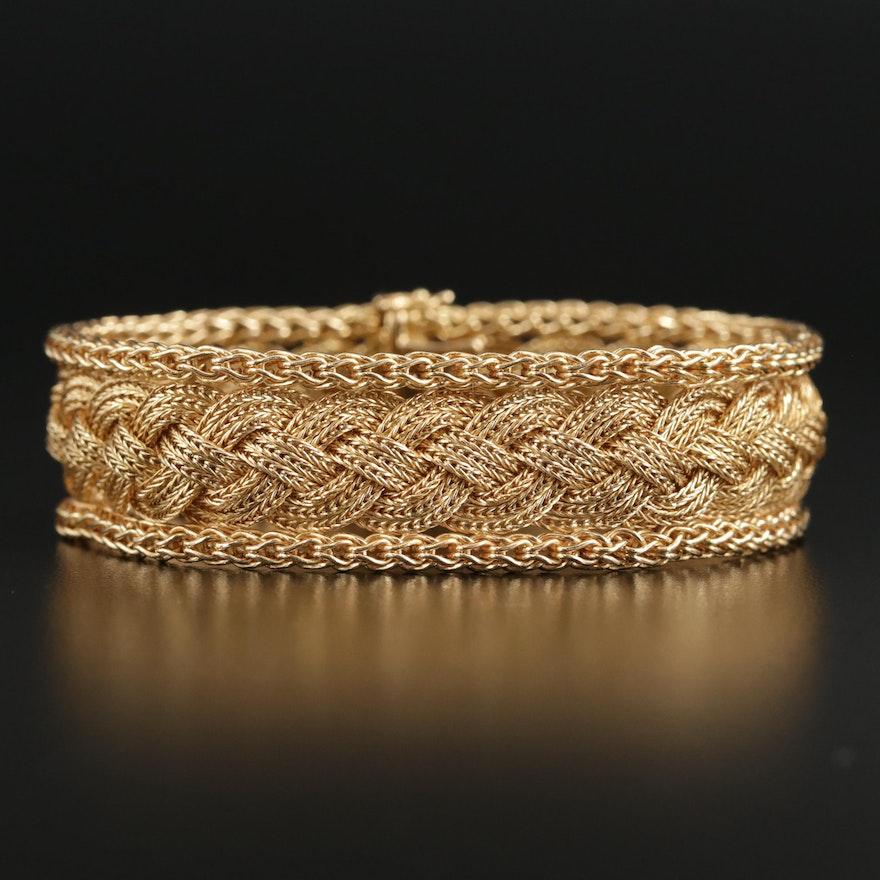 1960s Cartier 18K Yellow Gold Braided Foxtail Bracelet