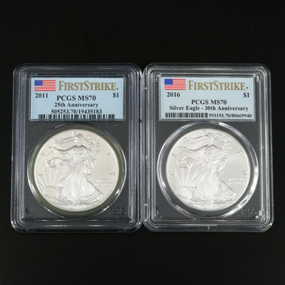 PCGS Graded MS70 2011 and 2016 America Silver Eagle Bullion Coins