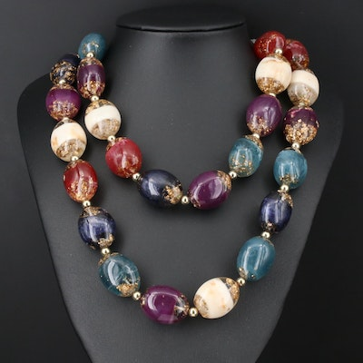 Double Strand Lucite Beaded Necklace